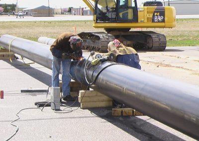 test water main repair pipe welding, Ogden Airport, Utah