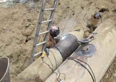 shot coat PCCP service tie-ins welding welder Weber Basin, Secondary water main tie in, Utah